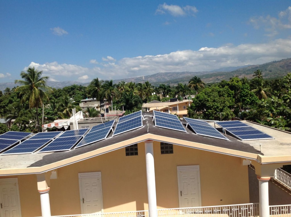 solar panels on the roof of the Jacmel Children's Center
