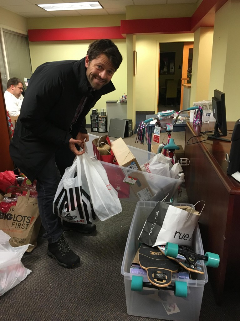 Misha delivering wish list items