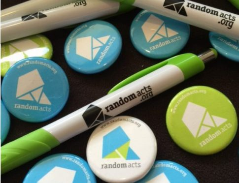 Random Acts pens and pins