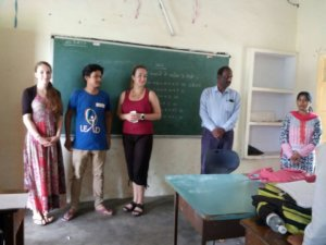 In the classroom before handing out dental supplies in India