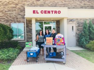dropping off supplies for refugees at El Centro