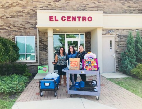 dropping off supplies for refugee children at EL Centro