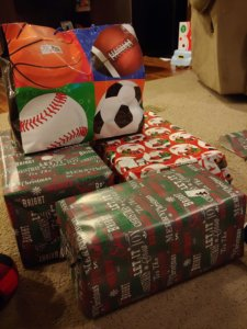 Wrapped presents for Alan's adopted angel