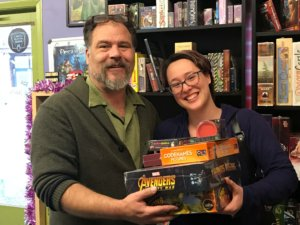 Dave and Rowan with some of the donated games.
