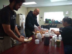 Volunteers enjoying their breakfast