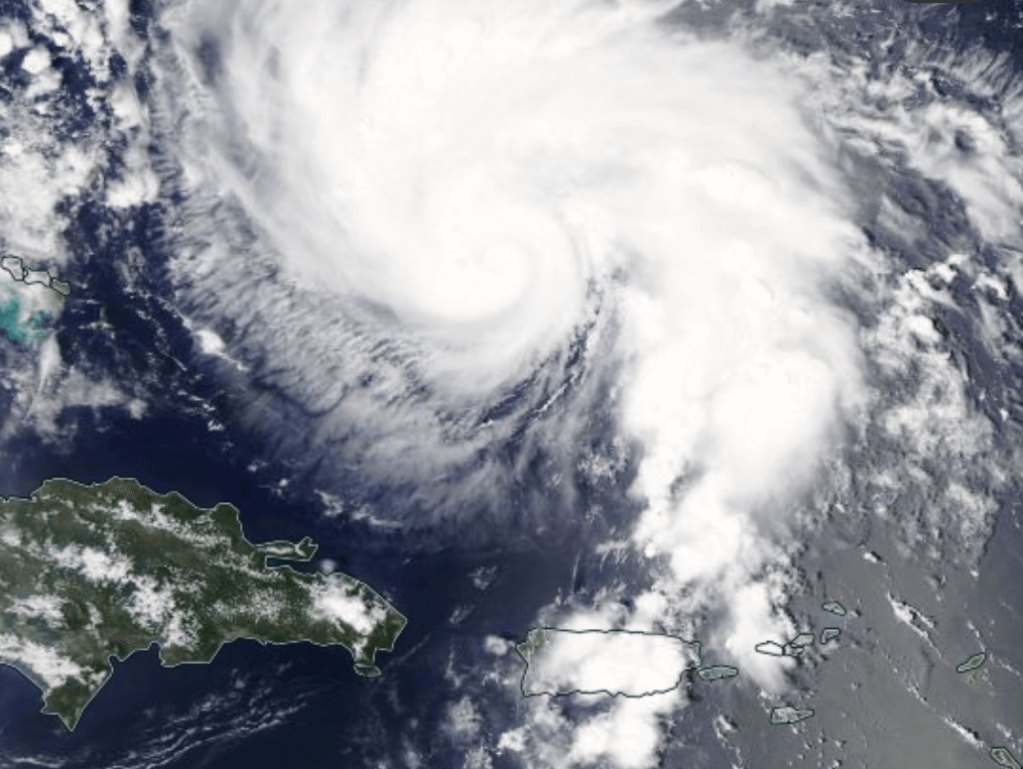 satellite view of Hurricane Dorian as it passes the Bahamas