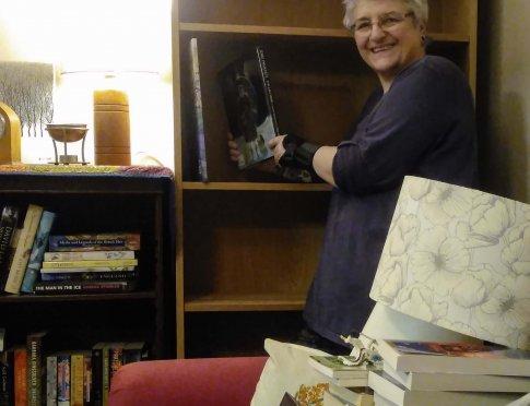 Ruth enjoying her new home furnishings.