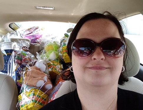 A car full of Easter baskets