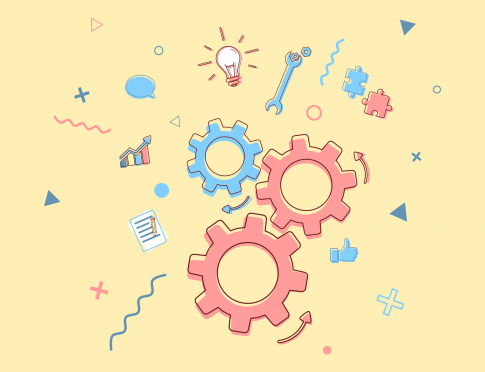Cartoon style gears, lightbulbs, graphs, and puzzle pieces