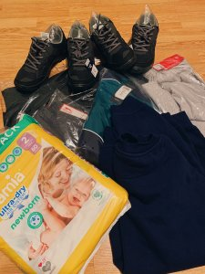 Shoes, diapers, and warm clothing
