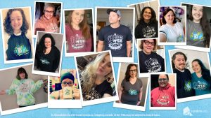 A compilation of photographs of 16 staff and supporters wearing the 10th anniversary merchandise including Misha Collins and Rachel Miner in the center 2 photographs.