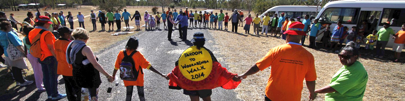 people holding hands at Woorabinda Walk fundraiser