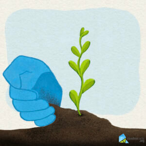 Graphic of a blue hand gently pouring dirt at the base of a green fern-looking plant with a very light blue square in the background representing the sky.