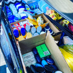 Hygiene items in boxes ready for donation