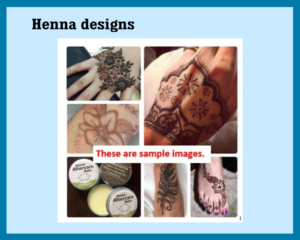 Several collaged photos of henna drawings on various body parts, mainly hands and feet