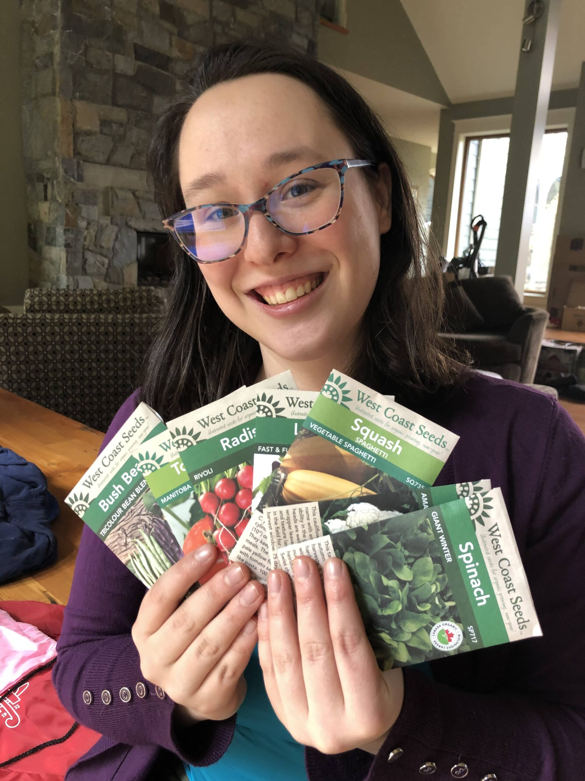 Rowan Meredith with her assortment of vegetable seeds.