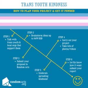 an image that shows the steps for completing a kindness act for trans youth