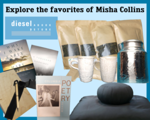 A picture titled Explore the favorites of Misha Collins and shows bags of coffee, handmade mugs, poetry books, and some comfort items