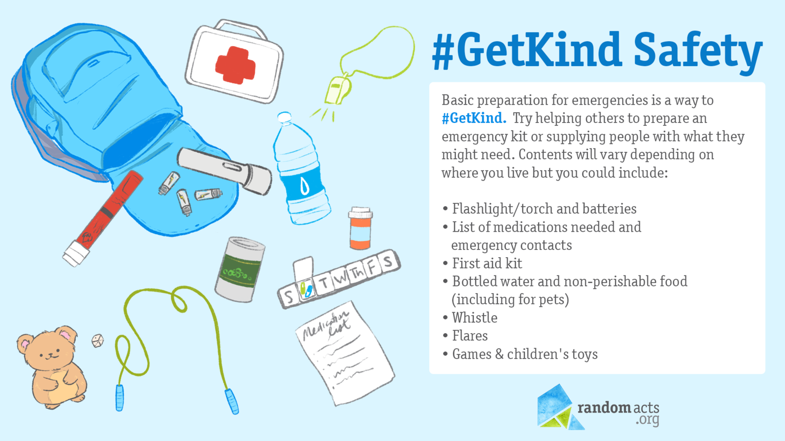 Image of a blue backpack spilling emergency supplies including a first aid kit, medications, flashlight, water bottle, and notepad with text reading #GetKind Safety.