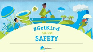 Cartoon image of a man in a green shirt rowing a boat with a tornado to his left and a storm cloud raining over an island to his right. The forefront of the image is a rounded hump of sand with text reading #GetKind May/June Safety