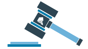 Gavel colors multiple shades of blue with a white Random Acts logo in the middle