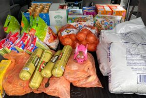 Food in the back of a car, ready to be donated!